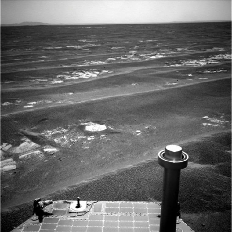 NASA's Mars Exploration Rover Opportunity completed a drive on July 17 that took the vehicle's total driving distance on Mars past 20 miles.