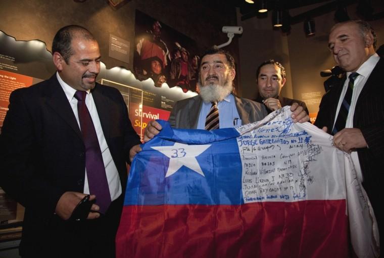 Image: Chilean miners Jorge Gallegillos, Carlos Barrios, Jose Henriquez, Mario Sepulveda