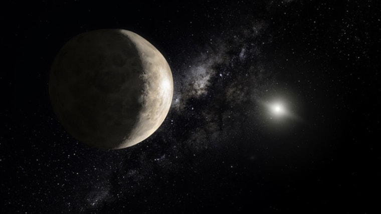 An artist's illustration of Makemake, a dwarf planet out beyond the orbit of Neptune that also qualifies as a plutoid.
