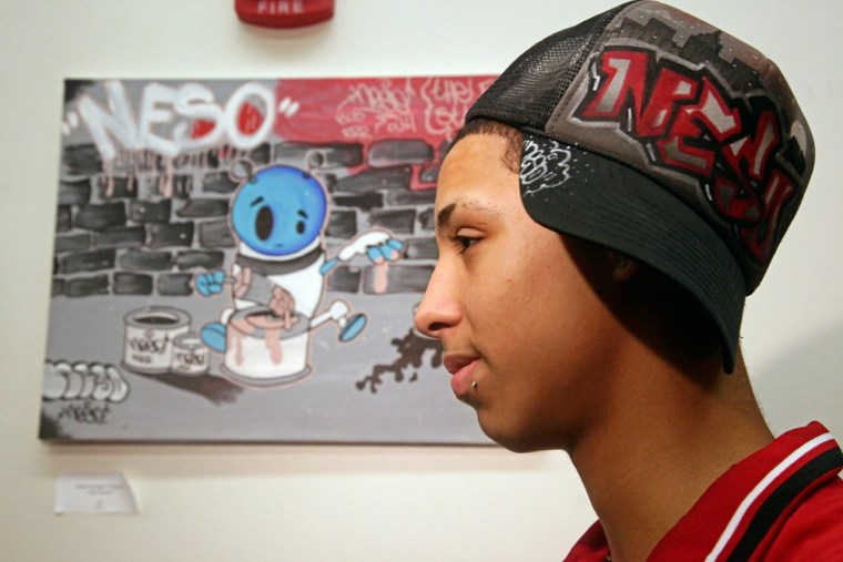 Jesus Merced, 16 and on probation for graffiti offenses, was sent to a mentoring program called Paint Straight