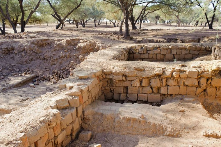 Only a small part of a structure, possibly an ancient palace, has been excavated so far (some of it can be seen in the bottom foreground) in central Sudan beneath another ancient palace. The structure is the oldest ever found in the ancient city of Meroe.
