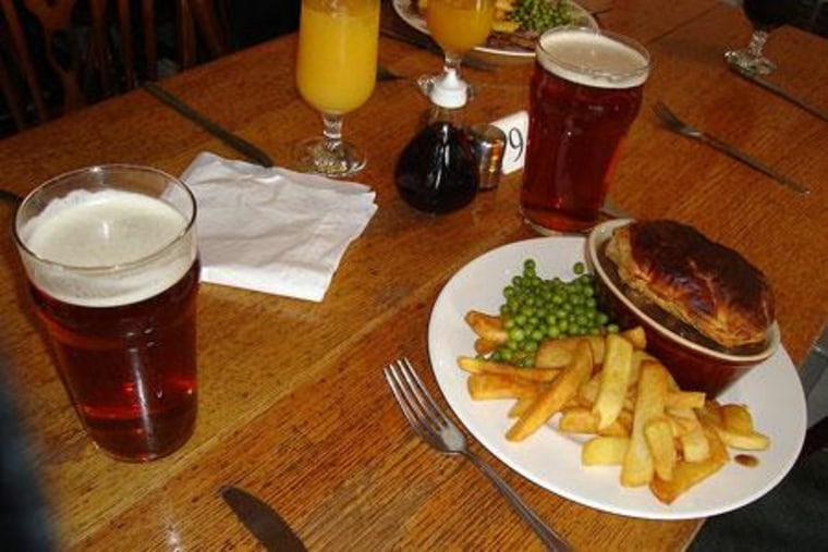 Dinner and drink at an English country pub. Be careful to not leave anything behind.