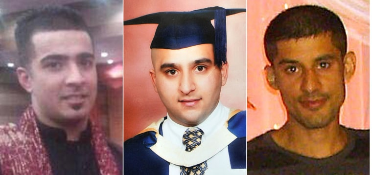 Haroon Jahan, Shazzad Ali and Abdul Musavir died after being hit by a car during Tuesday's disorder