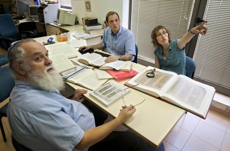 Image: 'Bible detectives' Michael Segal, Rafael Zer, Efrat Leibowitz