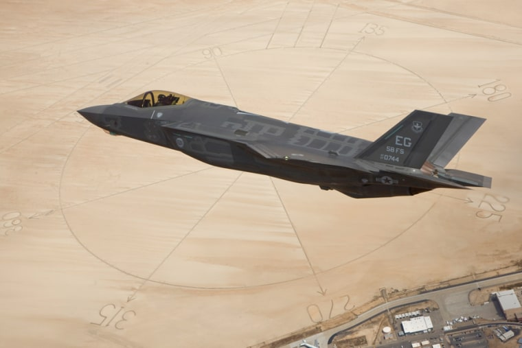Image: US Air Force F-35A fighter jet over Edwards Air Force Base
