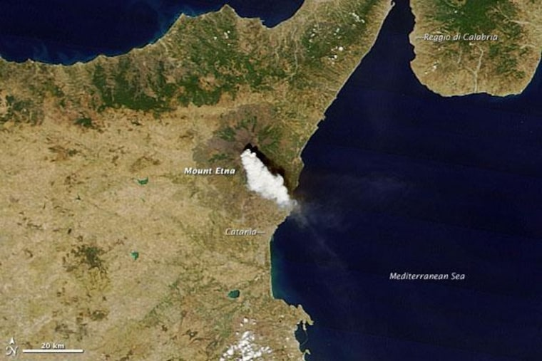An eruption of Mount Etna as captured in a new image from NASA's Terra satellite.