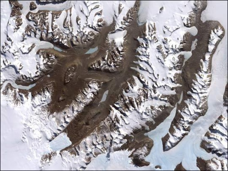A satellite image of Antarctia's Dry Valleys. Antarctica is considered one of the most climatically sensitive ecosystems on Earth and home to the planet's greatest desert.