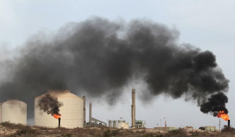 Image: An oil terminal is seen after it was retaken by rebels