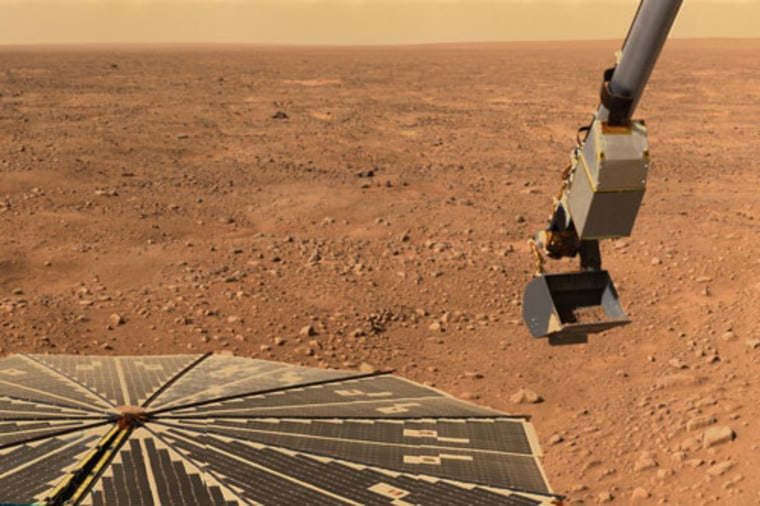 This image shows NASA's Phoenix Mars Lander's solar panel and the lander's Robotic Arm with a sample in the scoop on June 10, 2008. The image was taken just before the sample was delivered to the Optical Microscope.