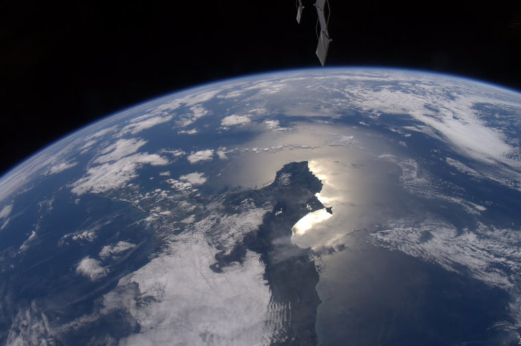 This photo of Earth from the International Space Station was taken by NASA astronaut Ron Garan, who has been blogging about the planet's beauty on his website Fragile Oasis. This image, taken on April 15,was Garan's first photo sent via Twitter.