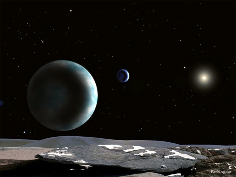 An artist's impression of Pluto and Charon as seen from one of Pluto's other moons.