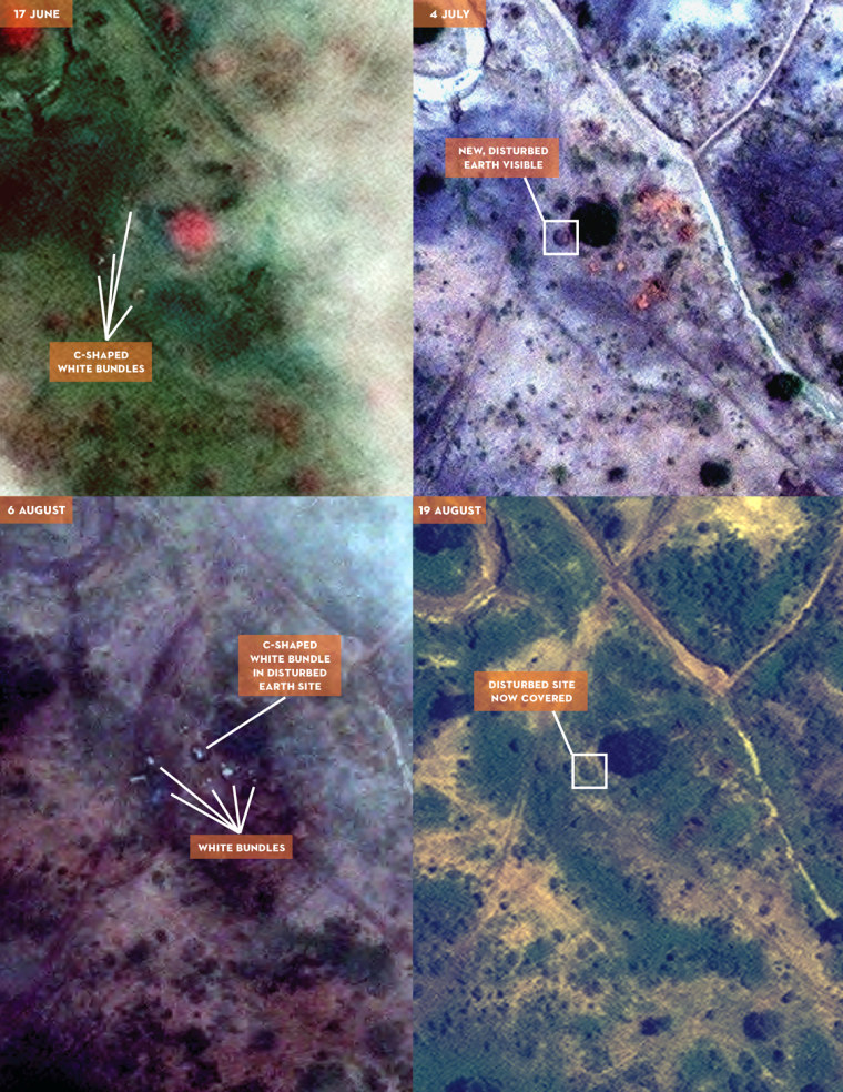 Image: Objects consistent with human remains buried at apparent mass grave in El Shaeer, South Kordofan, Sudan.