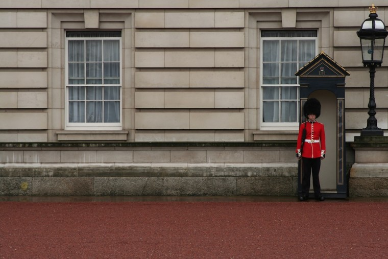 A member of the Queen's Guard outside of Buckingham Palace in London.