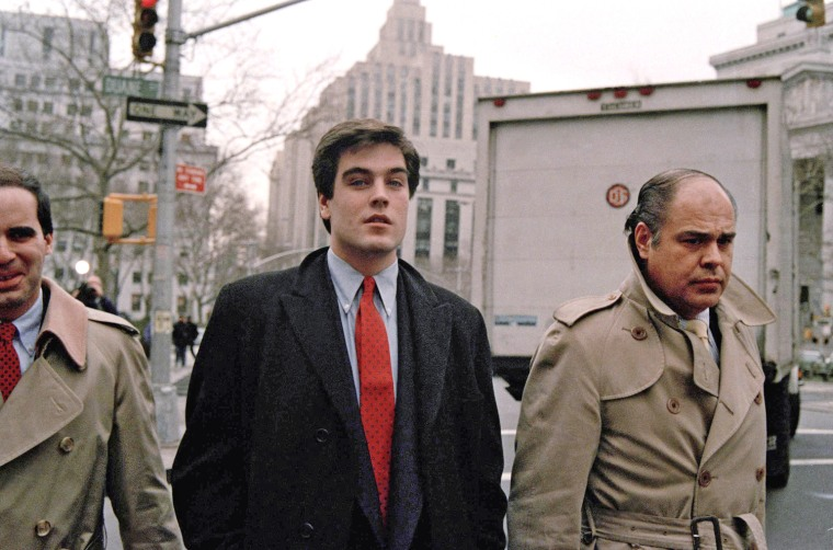 """Image: Robert Chambers, the so-called \""""preppie killer,\"""" accompanied by his father, Robert Chambers, Sr."""