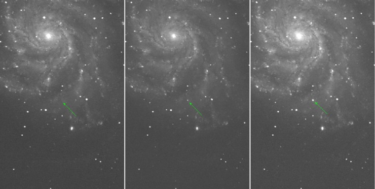 The arrow marks PTF 11kly in images taken on the Palomar 48-inch telescope over the nights of, from left to right, Aug. 22, 23 and 24. The supernova wasn't there Aug. 22, was discovered Aug. 23 and brightened considerably by Aug. 24.