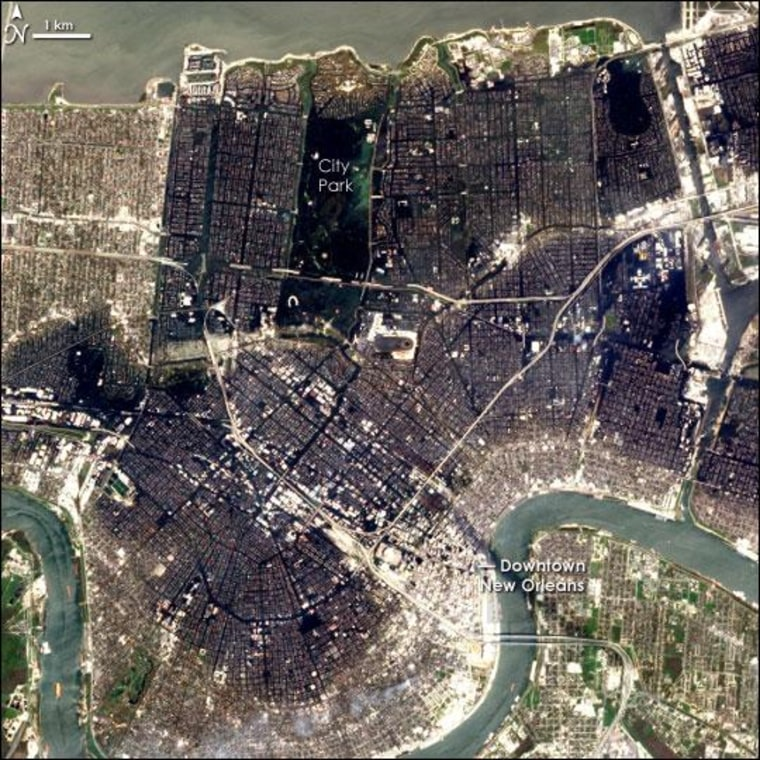 The flooding in New Orleans nearly a week after Hurricane Katrina hit, taken by NASA's EO-1 satellite on Sept. 6, 2005.
