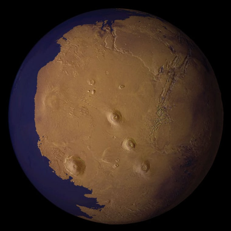A view of Mars as it might have appeared more than 2 billion years ago, with an ocean filling the lowland basin that now occupies the north polar region.