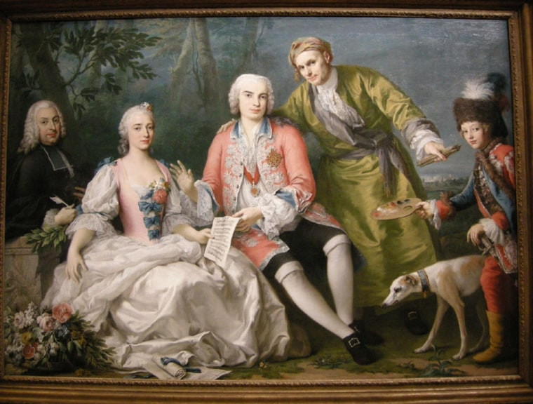 Farinelli (center, in red), as portrayed in this 1750 oil painting by Jacopo Amigoni. The painting is housed in the National Gallery of Victoria in Melbourne, Australia.