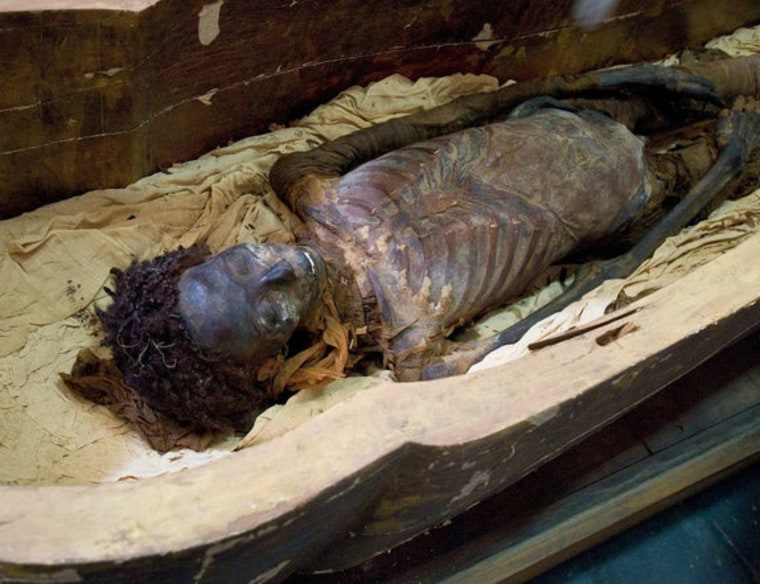 Egyptians kept their hair looking good in the afterlife with a type of fat-based hair gel, new research shows. The mummy Maiherpri, shown here, was alive during the 18th dynasty, slightly older than the mummies sampled in the study.