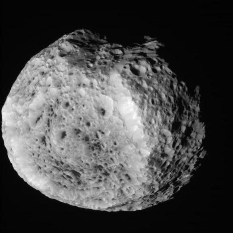 NASA's Cassini spacecraft obtained this unprocessed image of Saturn's moon Hyperion during a close flyby on Aug. 25.