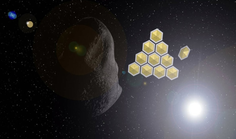 An illustration of how solar sails might help deflect the asteroid Apophis, as proposed by Chinese researchers.
