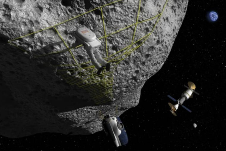 An artist's concept of anchoring to the surface of an asteroid.