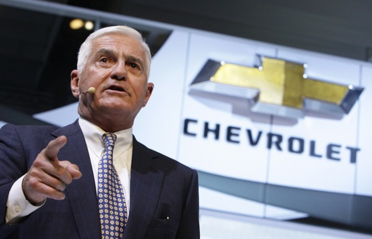 Image: General Motors Vice Chairman Bob Lutz addresses his speech at the Chevrolet exhibition stand at the 80th Geneva Car Show