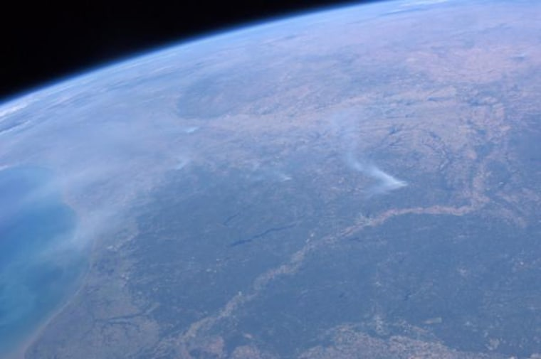 The view from space of wildfires in Texas at Bastrop State Park and other areas in the region on Tuesday.