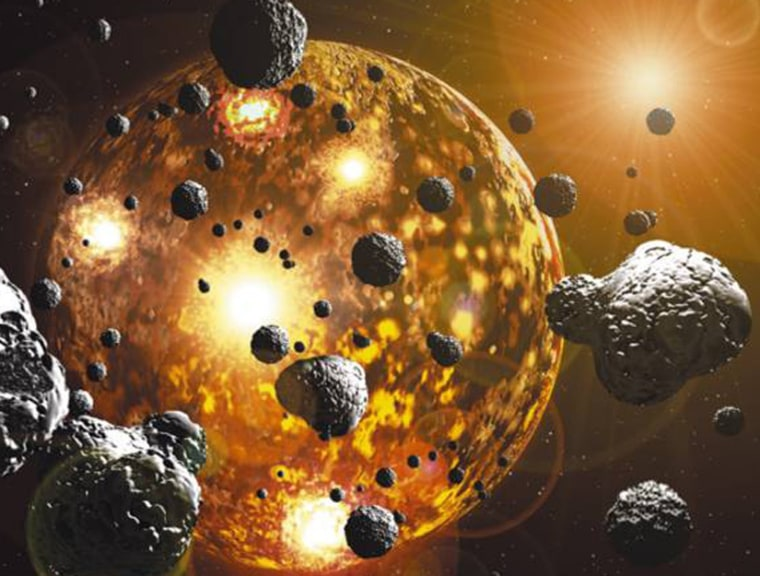 An artist's impression of the Earth during the period of meteorite bombardment 3.9 billion years ago.