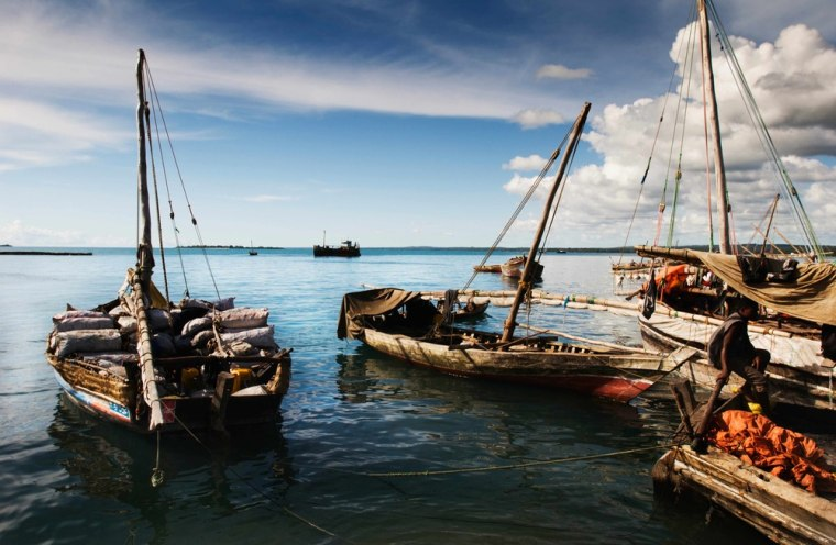 Image: Dhow sailing vessels in Stone Town Port, Zanzibar, Tanzania, East Africa.