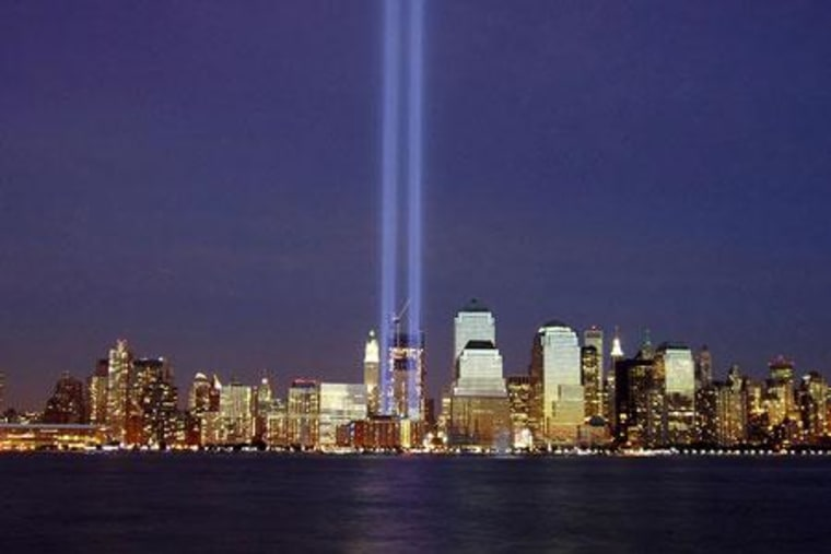 Two beams of light shine into the sky above Manhattan on the third anniversary of the Sept. 11, 2001,terrorist attacks.