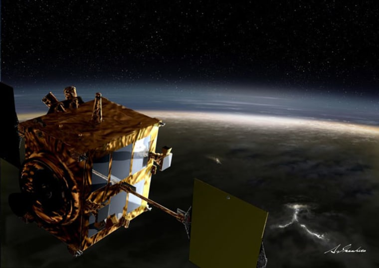 It is hoped that Japan's Climate Orbiter Akatsuki will study both the atmosphere and surface of Venus. The  probe fired its main engine last Wednesday for the first time since overshooting the planet in December.