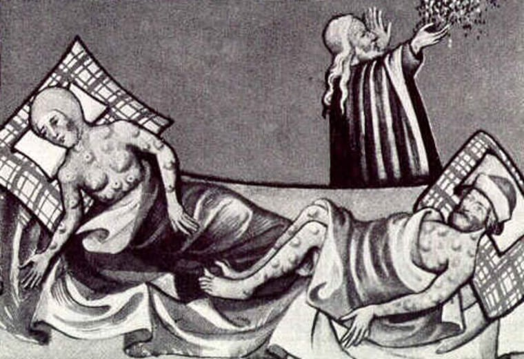 A depiction of the black death from a 15th century Bible.