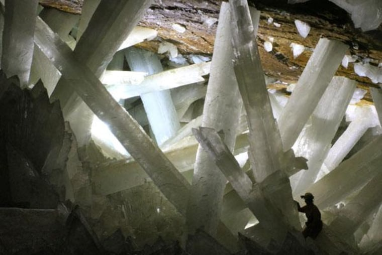 The Cave of the Crystals in a Naica, Mexico, mine holds the worl'd biggest crystals.