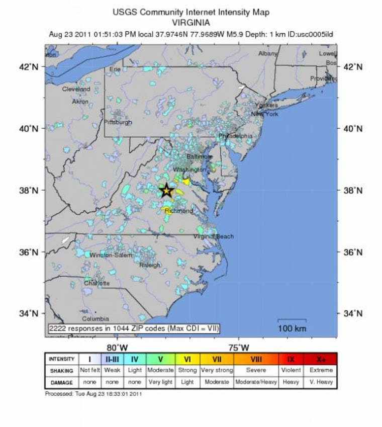 Map shows the level of shaking felt in parts of the East Coast from the Virginia quake.