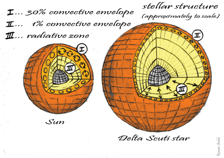 Comparing the interior of a Delta Scuti star to the sun. Notice how deep the convection layers run on solar-type stars, compared to the Delta Scuti. Although it makes up only 1 percent of the radius, astronomers think convection could help drive the pulsations on the variable star.