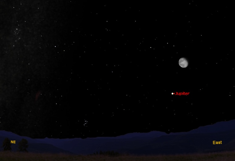 This sky map hows how the moon and Jupiter will appear on Thursday at 10 p.m. to skywatchers with clear skies in mid-northern latitudes.