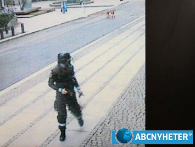 Image: Still image taken from surveillance camera of Norwegian mass killer Breivik walking away after setting a car bomb in Oslo