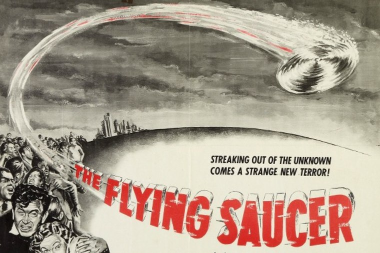 """A promotional poster for the 1950 film """"The Flying Saucer."""""""