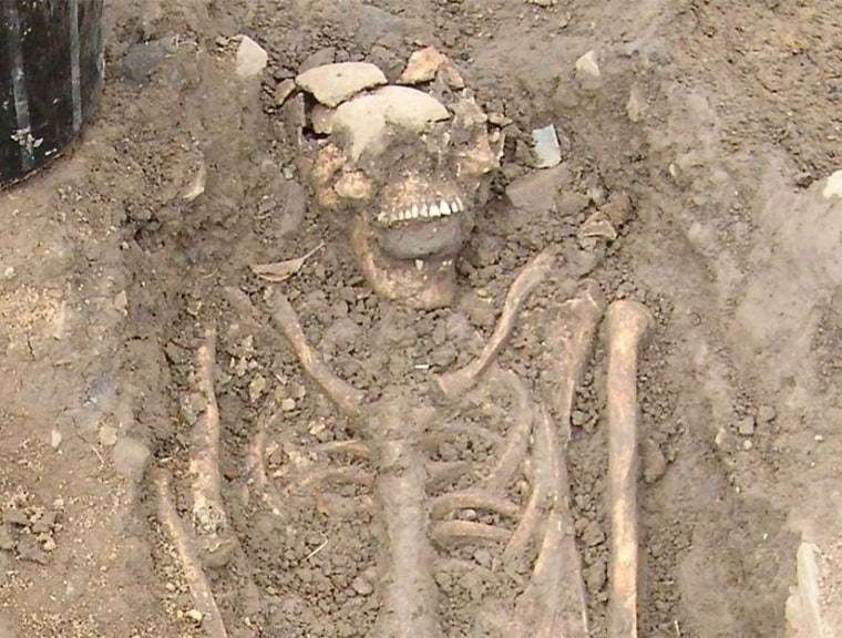 This 8th-century skeleton was found in Ireland recently with a large stone shoved in its mouth.Archaeologists say it's possible that citizens feared he would rise from his grave like a zombie.