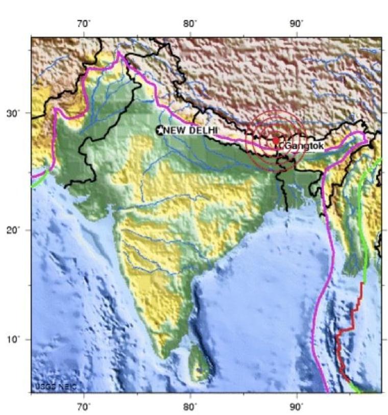 Image: Epicenter of Sept. 18 quake in India