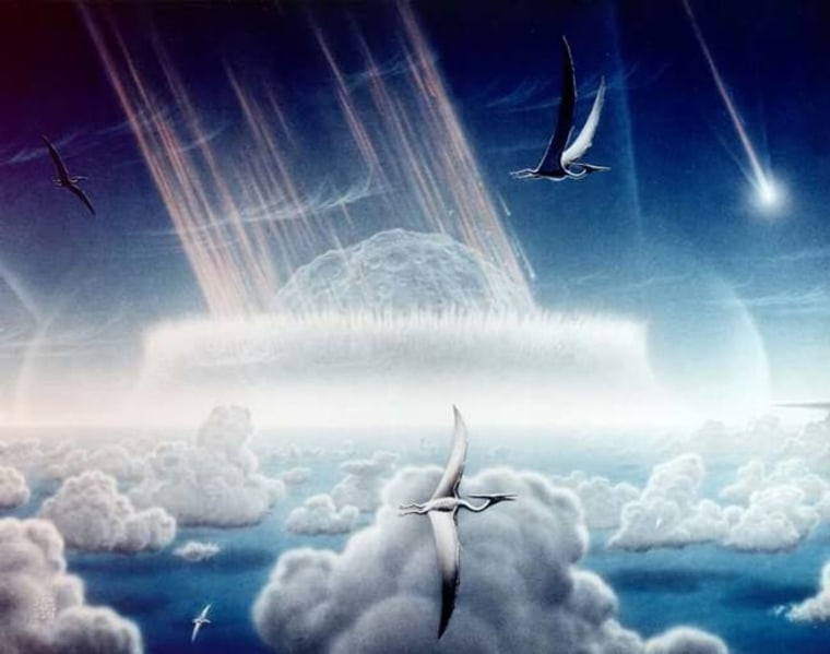 An artist's impression of a giant space rock slamming into Earth 65 million years ago near what is now Mexico's Yucatan Peninsula. A consortium of scientists now says this was indeed what cause the end of the Age of Dinosaurs.