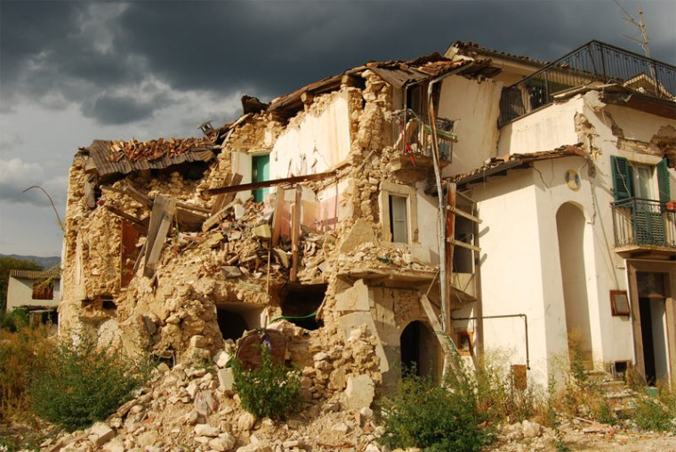 A view of someof thedestruction caused by a powerful earthquake that struck the village of Onna in Aquila, Italy, in 2009.