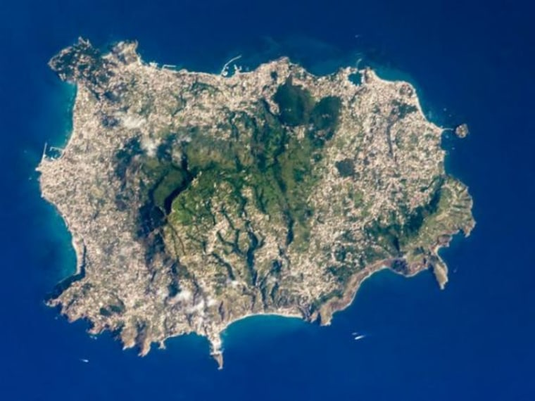 The island of Ischia, in the Tyrrhenian Sea, about 18 miles southwest of Naples.
