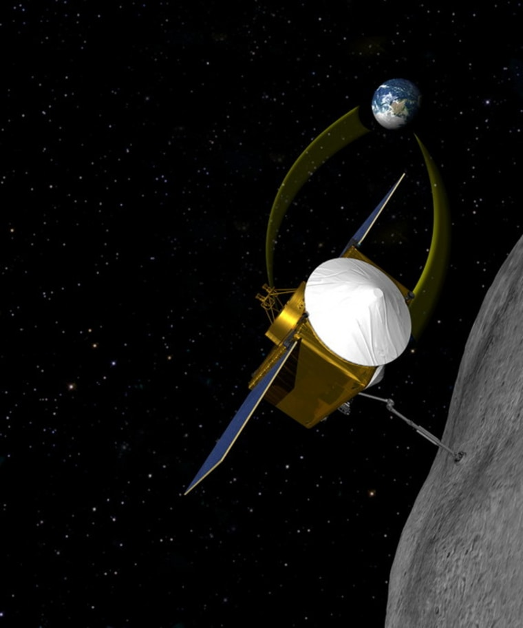 A conceptual image of Osiris-Rex, which will try to bring back a sample of asteroid 1999 RQ 36.