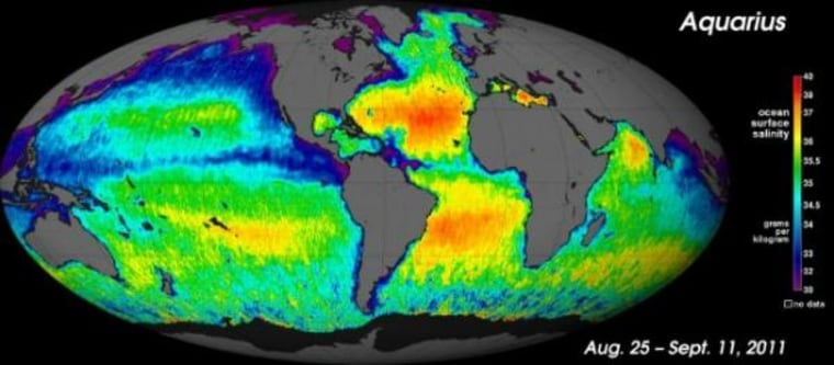 This new map shows the salinity of ocean surfaces.