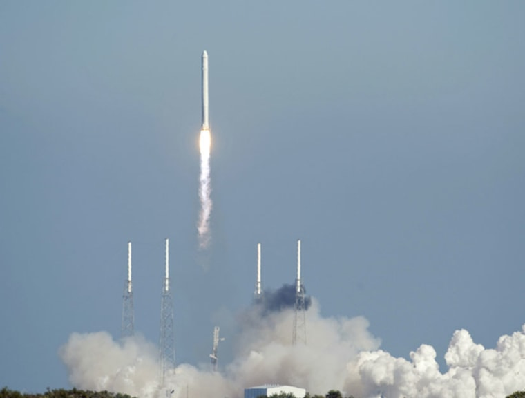 SpaceX's Falcon 9 rocket and Dragon spacecraft lift off from Launch Complex-40 at Cape Canaveral Air Force Station, Fla.