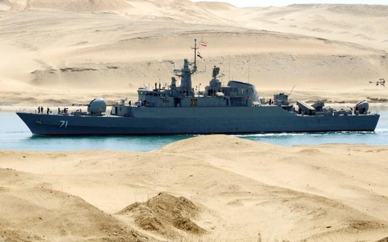 Image: An Iranian naval ship travels through the Suez Canal near Ismailia