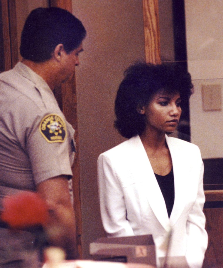 Image: Omaima Aref Nelson appears in court in 1992 for killing and cooking her husband.
