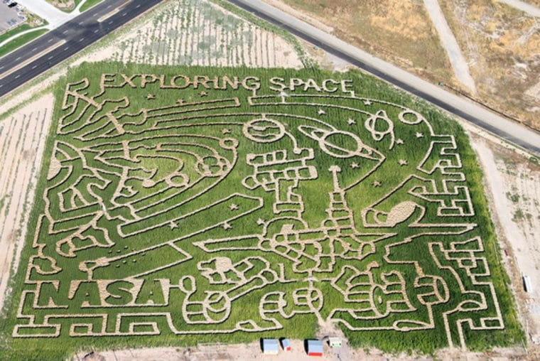 The maze is one of seven corn mazes across the United States by farms participating in the Space Farm 7 project in 2011.